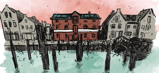 Husum Harbour, Speiche rHusum, Illustration von Arne Auinger