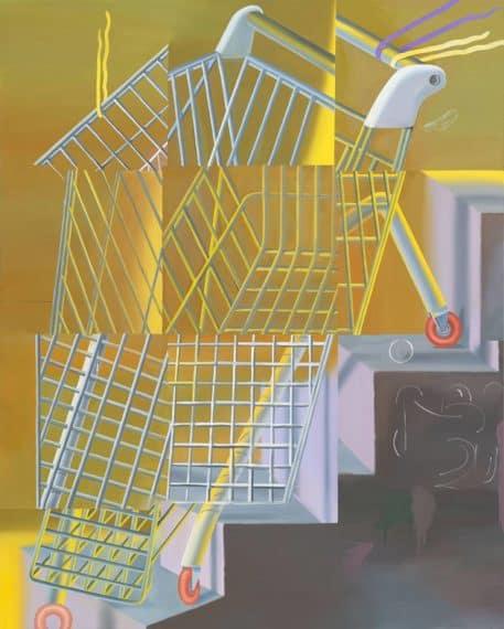 Kristina Schuldt, Einkaufswagen eine Treppe herabsteigend, 2017, Öl und Eitempera auf Leinwand, 210 x 170 cm. Courtesy Galerie EIGEN + ART Leipzig/Berlin, Foto: Uwe Walter