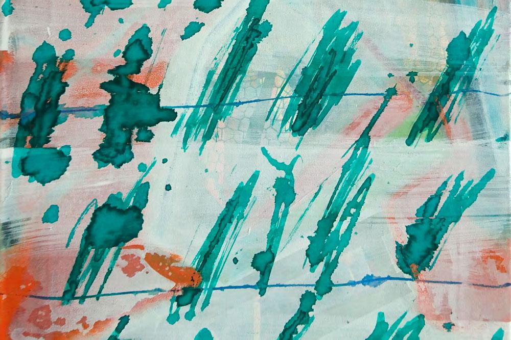 Abbildung: Nele Kathrin Köhler / Beete Kombination Nr. 9 / 2019 / 3 tlg. / Mischtechnik auf Leinwand / je 70 x 40 cm